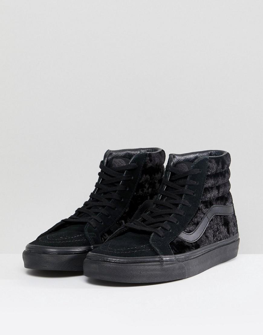 Zapatillas de deporte unisex en terciopelo negro Sk8-Hi de Vans Vans