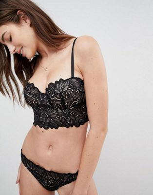 ASOS Amelia Paisley Lace Long Line Padded Underwire Bra Set in Black