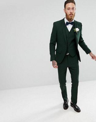 ASOS - Costume de mariage slim à chevrons - Vert forêt