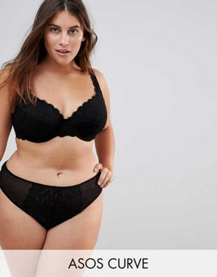 ASOS CURVE Jennifer Padded Lace Underwire Bra Set in Black