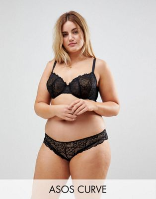 ASOS CURVE Rita Lace Mix & Match Underwire Bra Set in Black