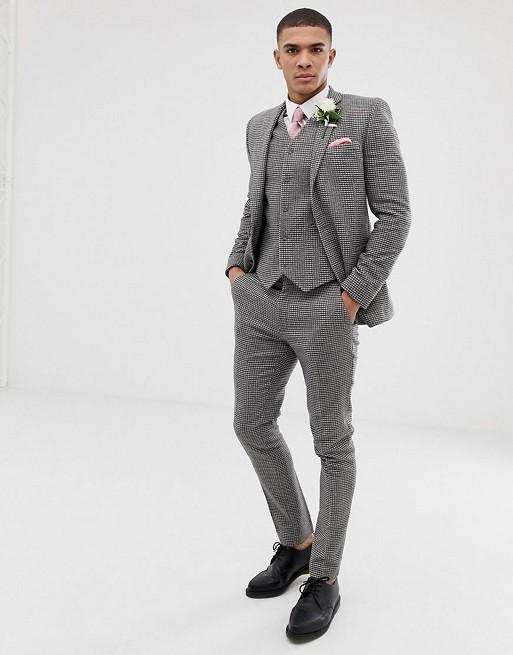 ASOS DESIGN - Abito super skinny grigio pied de poule da matrimonio