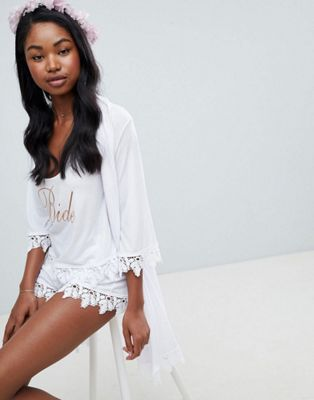 ASOS DESIGN Bridal Bride Vest And Short Pyjama & Robe Set