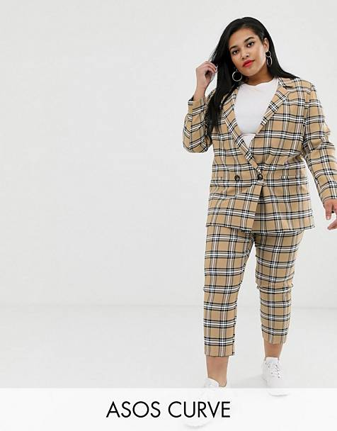 ASOS DESIGN curve suit in brown check