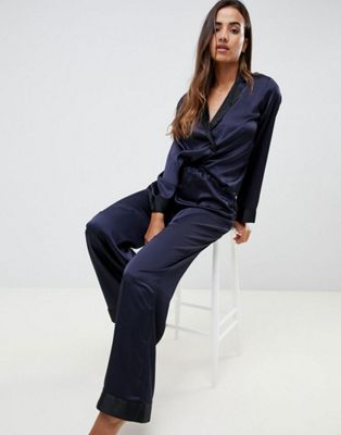 ASOS DESIGN double breasted contrast satin pyjama shirt and trouser