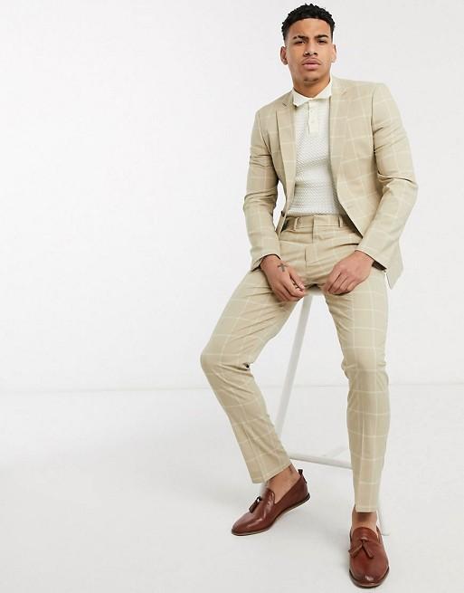 ASOS DESIGN – Ljusbeige rutig kostym med smal passform