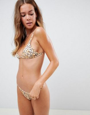 ASOS DESIGN - Mix and Match - Haut de bikini triangle et bas unis et avec motif animal