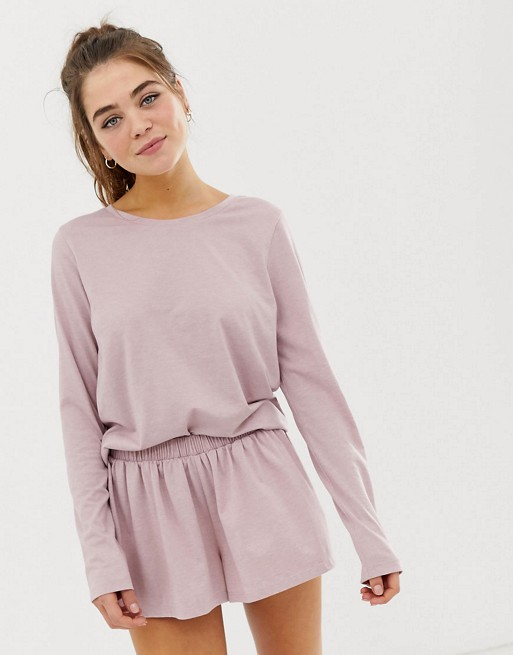 ASOS DESIGN mix & match marl long sleeve pyjama jersey t-shirt and short