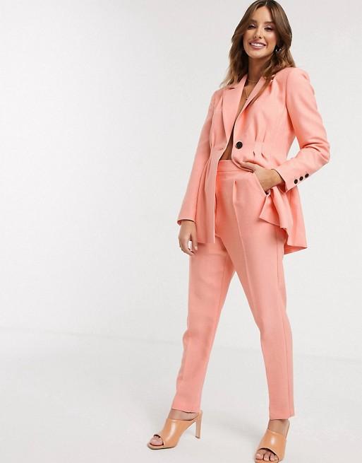 ASOS DESIGN pleat waist suit in peach
