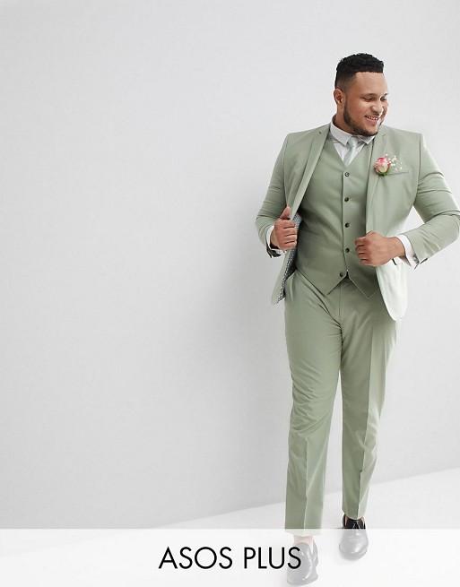 ASOS DESIGN - Plus - Bruiloft - Skinny kostuum in saliegroen