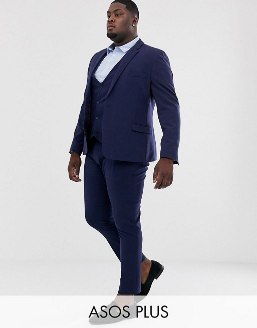 ASOS DESIGN Plus super skinny fit suit in  navy