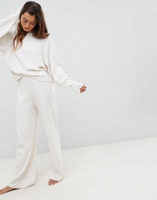 ASOS DESIGN premium lounge knitted dropped sleeve sweat & trouser set