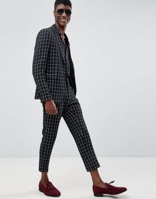 ASOS DESIGN skinny suit in black and white check with embroidery