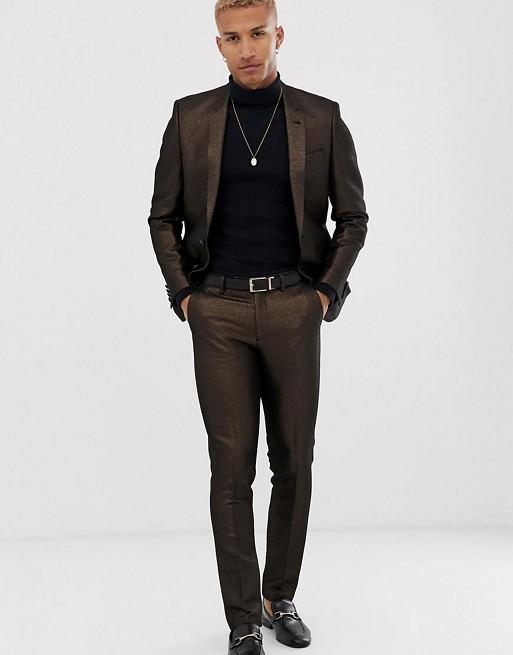 ASOS DESIGN skinny suit in metallic