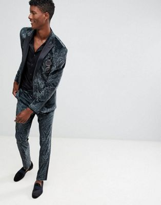 ASOS DESIGN skinny tuxedo suit in forest green paisley print