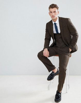 ASOS DESIGN slim suit in 100% wool Harris Tweed in brown herringbone