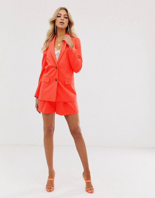 ASOS DESIGN soft suit in pop coral