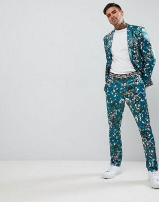 ASOS DESIGN super skinny suit in teal floral print sateen