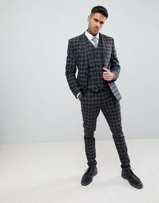 ASOS DESIGN super skinny suit in tonal grey check