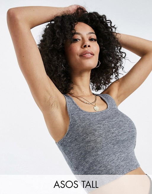 ASOS DESIGN Tall knitted cami and leggings co-ord in grey