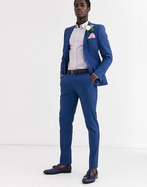 ASOS DESIGN Wedding – Enger Anzug aus Baumwoll-Leinengemisch in hellem Blaugrau