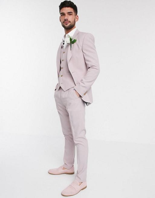 Herrenbekleidung Wedding – Enger Anzug mit Kreuzschaffur inRosérosa erbAIoq8