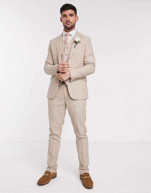 ASOS DESIGN wedding - Skinny kostuum met microtextuur in camel