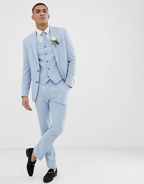ASOS DESIGN wedding skinny suit in blue cross hatch