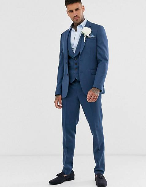 ASOS DESIGN wedding skinny suit in petrol blue twil