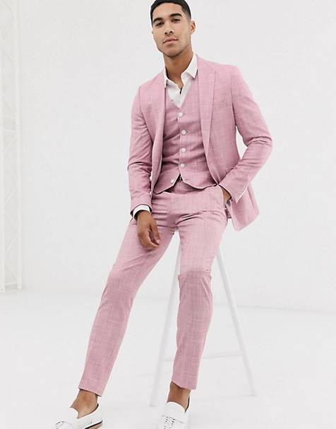 ASOS DESIGN wedding skinny suit in rose pink cross hatch