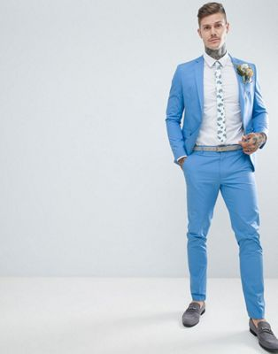 ASOS DESIGN Wedding Skinny Suit In Stretch Cotton In Sky Blue