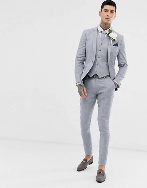 ASOS DESIGN wedding super skinny suit in gray linen