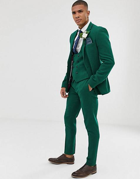 ASOS DESIGN wedding super skinny suit in green twill