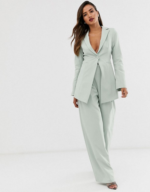 ASOS EDITION cutaway blazer & wide leg pants suit in sage