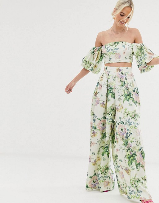 ae6200951ddebc ASOS EDITION floral off shoulder top & wide leg trouser co-ord | ASOS