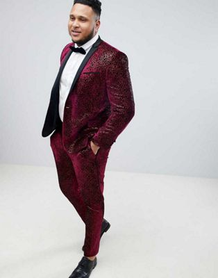 ASOS EDITION Plus super skinny tuxedo suit in allover burgundy sequin