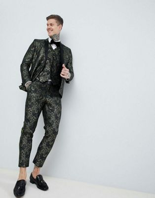ASOS EDITION Skinny Double Breasted Tuxedo Suit In Green Floral Jaquard