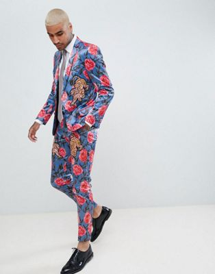 ASOS EDITION Skinny Suit In Blue Floral Print With Tiger Patches