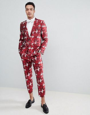 ASOS EDITION Skinny Suit In Red Floral Jacquard