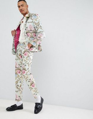 ASOS EDITION Tall wedding skinny suit in pastel floral jacquard
