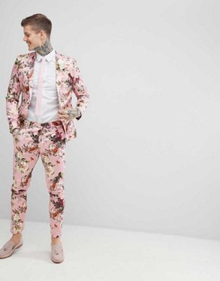 ASOS EDITION Wedding Skinny Suit In Blush Floral Sateen Print