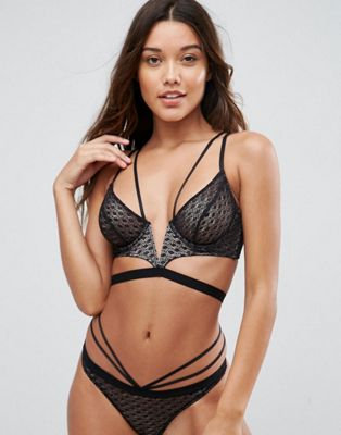 ASOS Gianna Diamond Lace Longline Underwire Bra Set Including 30DD - 38HH