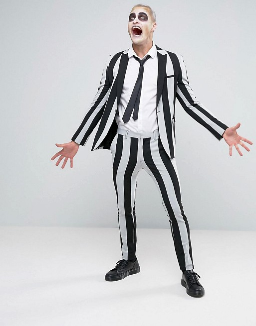ASOS Halloween Super Skinny Suit in Black And White Stripe