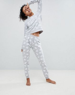 ASOS LOUNGE Lip Print Sweat and Jogger Set