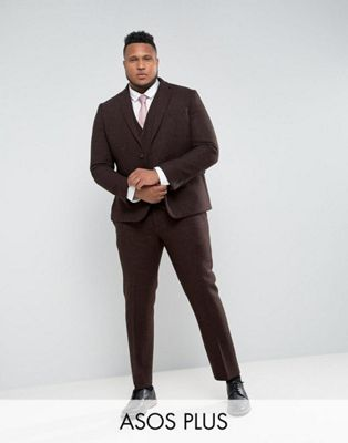 ASOS PLUS - Abito slim in Harris Tweed di 100% lana a spina di pesce marrone