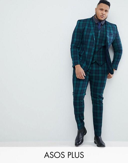 ASOS PLUS – Rutig kostym med supersmal passform