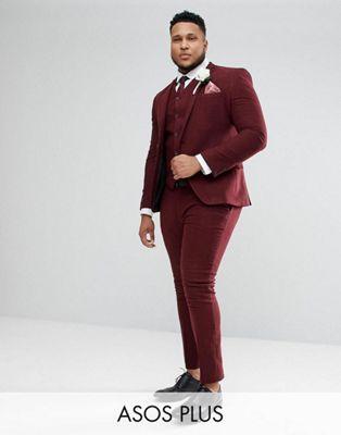 ASOS PLUS Wedding Super Skinny Suit in Wine Herringbone