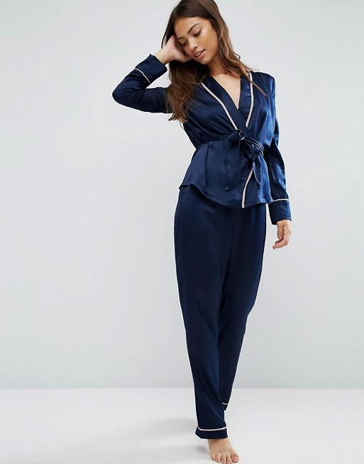 ASOS Premium Satin Piped Kimono and Pant Set
