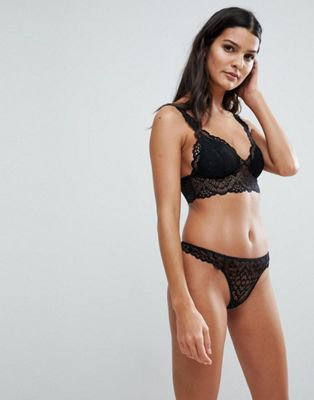 ASOS Rita Basic Lace Mix & Match Moulded Triangle Set in Black