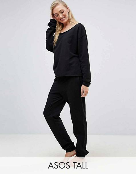 ASOS TALL LOUNGE Raw Edge Set in Black 8f0833bf6